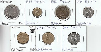 Morocco: Collection of 7 Different Circulation Coins - Lot i