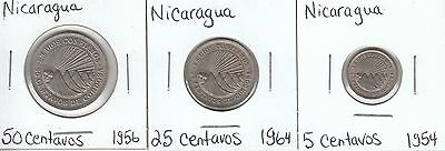 Nicaragua: Collection of 3 Different Circulation Coins