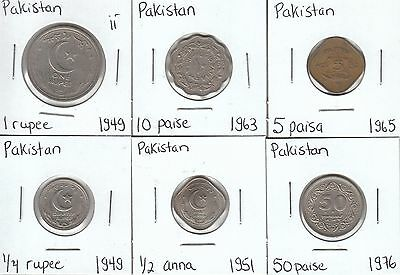 Pakistan: Collection of 6 Different Circulation Coins - Lot ii