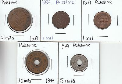 Palestine: Collection of 5 Different Circulation Coins