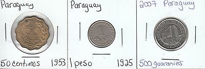 Paraguay: Collection of 3 Different Circulation Coins