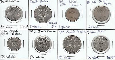 Saudi Arabia: Collection of 8 Different Circulation Coins