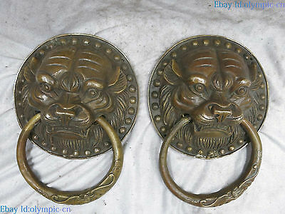 China brass sculpture China carved copper Feng Shui tiger knocker pair Statue