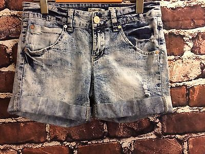 Indigo Rein Distressed blue Denim rolled Cuffed Junior Youth Girls Shorts Sz 5