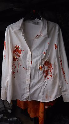 Zombie or student or office worker nerd costume hand embellished shirt sz 18-20