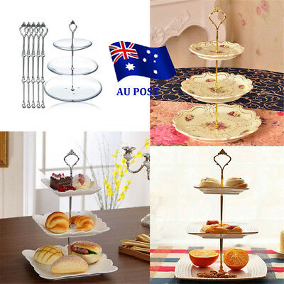 3 Tier Hardware Crown Cake Plate Stand Handle Fitting Wedding Party MN