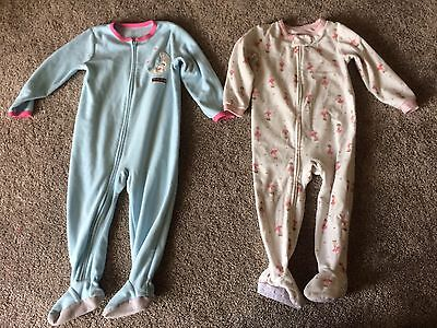 Lot Of 2 Fleece Footed Pajamas Carters 24 Months 24M 2T Girls