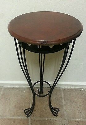 """Vintage Cherry Wood Iron End Table Plant Stand 29"""""""