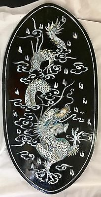 "Vintage 31"" Asian Mother Of Pearl and Lacquer Oval Plaque #4- Dragon"