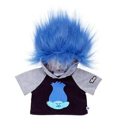 Build a Bear Clothing - DreamWorks Trolls Branch Hoodie with Blue Hair - NEW