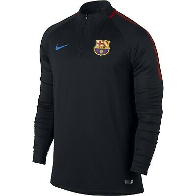 Nike FC Barcelona Official 2017 - 2018 MidLayer Soccer LS Training Top Black Red