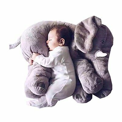 Super Cute Long Nose Elephant Grey Soft Baby Care Plush Pillow for Sleeping