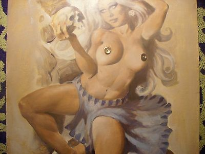 """Mike Hoffman Original Oil Painting """"nude Sorceress With Skull"""" 2004 11"""" X 17"""""""