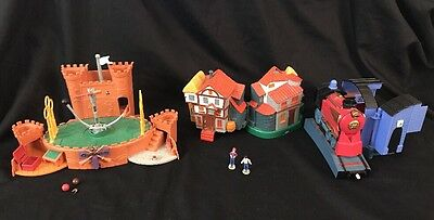 Harry Potter Polly Pocket Lot Hogwarts Train Ron Weasley House Quidditch Stadium