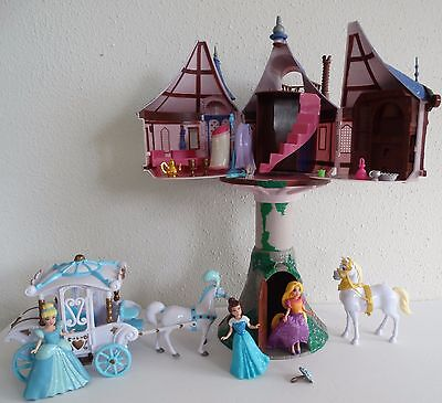 Disney Store Rapunzel Tangled Tower Playset+3 Princess, Carriage, Clothing++