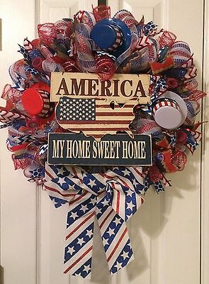 Patriotic Usa 4Th Of July  Veterans Day My Home Sweet Home Wreath Free Shipping!