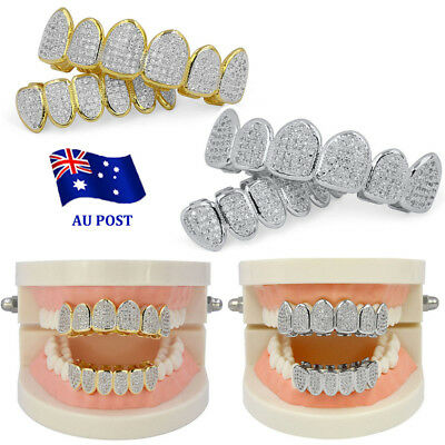 18K Gold Plated  Micro Pave Top Bottom CUSTOM  SET Mouth Teeth Grills MN