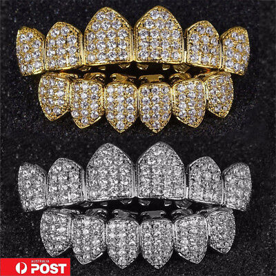 18K Gold Plated High Quality Top & Bottom  Mouth Teeth Grills MN