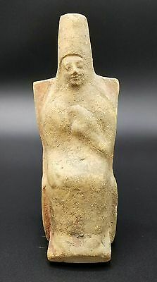 Ancient Greek Terracotta Statuette Figure Of A Seated Woman- Rhodes 5Th Century