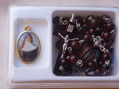 St Mary Mackillop Wooden Rosary Bead Neacklace &  Picture Medal-Australian Saint