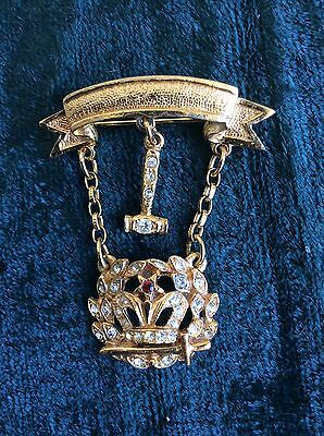 Order of Amaranth Jeweled  Medal Pin Yellow Gold Tone Garnet with gavel