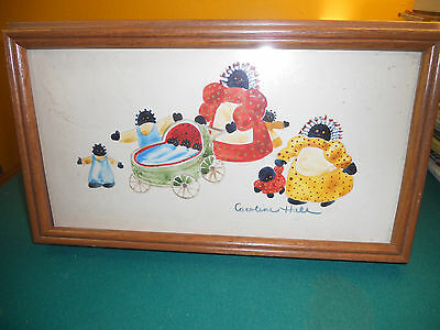 Black Americana African American Folk Art Vintage Framed Watercolor Picture