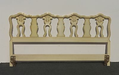 Vintage French Provincial Stye Cream Carved Wood King Size HEADBOARD 81""