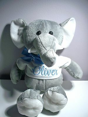 Personalised Elephant Toy Any Name Baby Gift or Birthday Get Well Gift 22cm sit