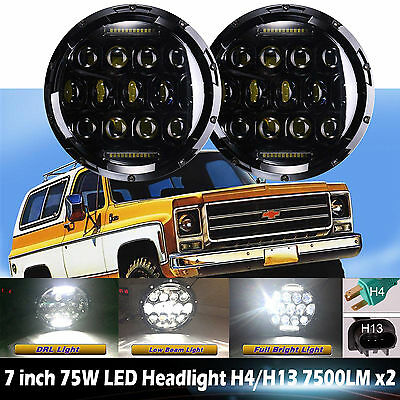 For Chevrolet C10 / Blazer / Suburban LED Headlight 2Pcs 7inch Hi-Lo Beam H4 H13
