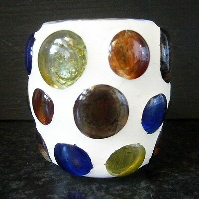 FUNKY RETRO 60s VINTAGE COLOURED GLASS PEBBLES CANDLE HOLDER