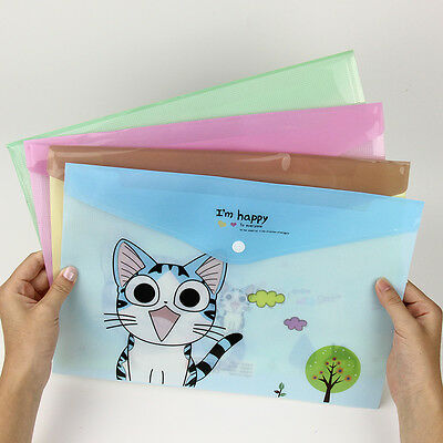 Cat PVC A4 File Folder Document Filing Bag Stationery Bag School Office Supplies