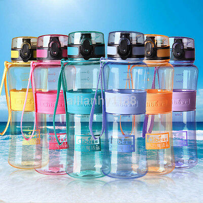 New Water Cup Portable Sports Travel Water Bottle with Carry Strap BPA Free UK