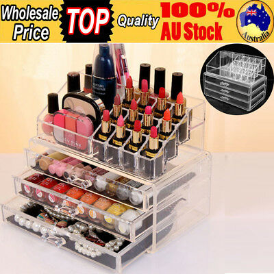 Clear Acrylic Makeup Holder Cosmetic Organizer 3 Drawer Storage Jewellery Box A
