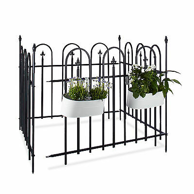 Garden Fence Metal Set with Posts and Fence Panels, Wrought Iron, Antique