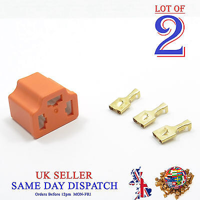 2x Ceramic 3 Pin H4 Bulb Holder and 3 Terminals Connector Housing With COVER