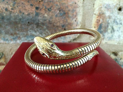 Fabulous 9ct Gold Tutankhamun Coiled Snake Serpent Bracelet with Ruby Eyes & Box