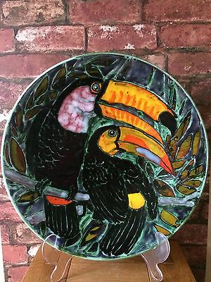 "Superb Vibrant 16"" Poole Pottery Charger 'Toucans' by Iconic Artist Tony Morris"