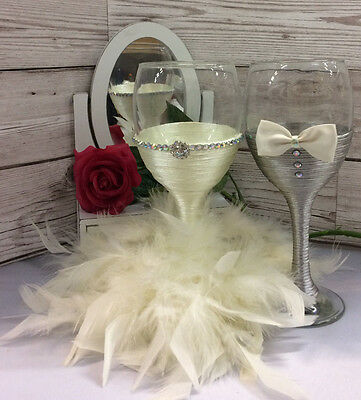 BRIDE and GROOM wine glass set Mr & Mrs Glasses Wedding Toast Ivory bride