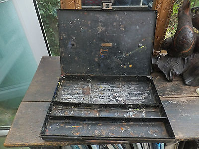 Antique 1900,s Metal Oil Paint Box RowneyGood Liverpool Artists Field Box
