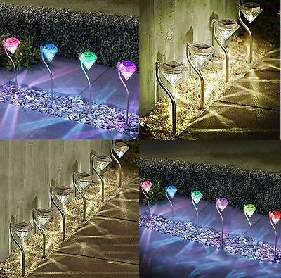 New Diamond Garden Stake Lights Stainless Steel Colour Changing Solar Led 4/6