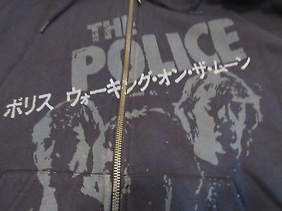 The Police 2 sided Hoodie World Tour 2007/2008 Sting Black Sz S Full Zip Defect