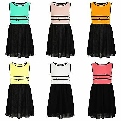 Girls Chiffon Skater Dress Embroidered Skirt Textured Casual Summer Top 3-14 Y
