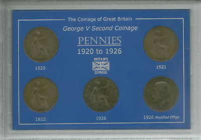 1920-1926 King George V Pennies Penny Second Type Coin Gift Set in Display Case