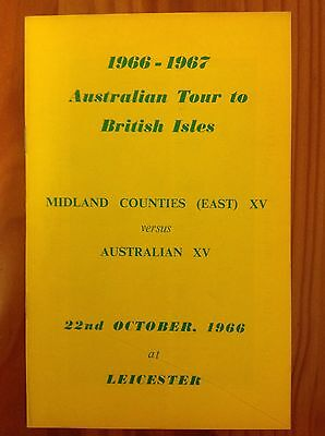 Midland Counties East v Australia 1966 Rugby Programme