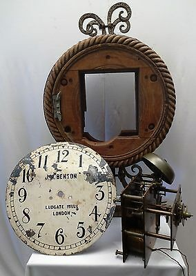 Antique Wall Clock Fusee Chain Double Dial J.w.benson Ludga Tehill London 10480