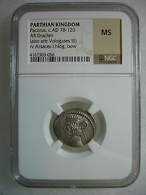 Parthian Kingdom Silver AR Drachm Pacorus AD 78 – 120 AD NGC MS Uncirculated