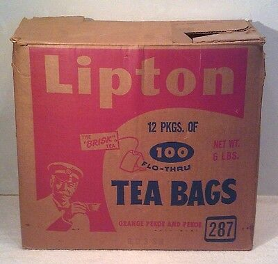 Vintage 1968 Lipton Tea Bags Empty Shipping Box