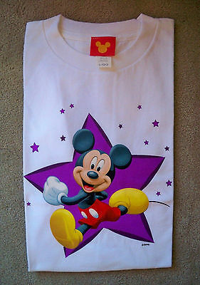 DISNEY MICKEY MOUSE Tee T-Shirt Kids Childs Short Sleeve Top White L 10 - 12 NEW