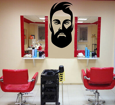 Wall Vinyl Decal Barber Salon Moustache Haircut Scissors Hall Decor Z4738