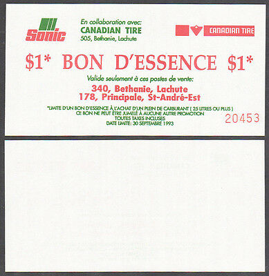 Canadian Tire Vintage 1993 Gas Rebate Note - Lachute Quebec - French - Uniface
